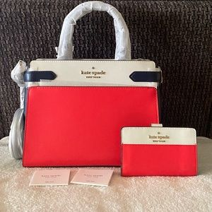 NWT Kate Spade Staci Colorblock Satchel & Wallet